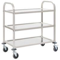 3-poziomowy wózek kelnerski, 87x45x83,5 cm, stal nierdzewna 50915