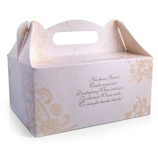 Eleganckie pudełka na ciasto weselne złote wierszy