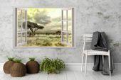 Obraz na płótnie - Canvas, okno - sawanna 120x80 zdjęcie 2