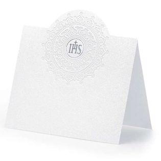 """Wizytówki na stół """"I Komunia"""", biało-srebrne, 10 szt."""