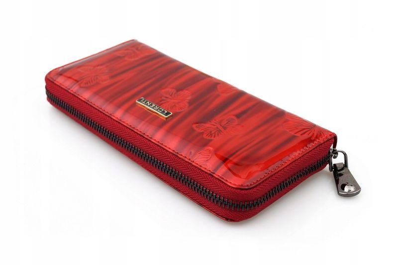 LORENTI portfel skórzany damski motyle suwak P041 czerwony zdjęcie 8