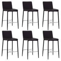 VidaXL Krzesła barowe, 6 szt., brązowe, sztuczna skóra
