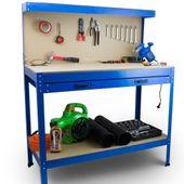 Stół Warsztatowy Garażowy Duży z Szufladą uchwyty Solidny do 100 kg