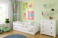 Łóżko LAURA 140x80 + szuflada + barierka zabezpieczająca + MATERAC