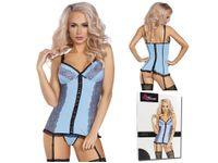 Błękitny gorset i stringi paski do pończoch bielizna L/XL