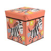 Pufa składana pudełko do siedzenia pojemnik na zabawki podnóżek UC82105-3 pudrowy róż