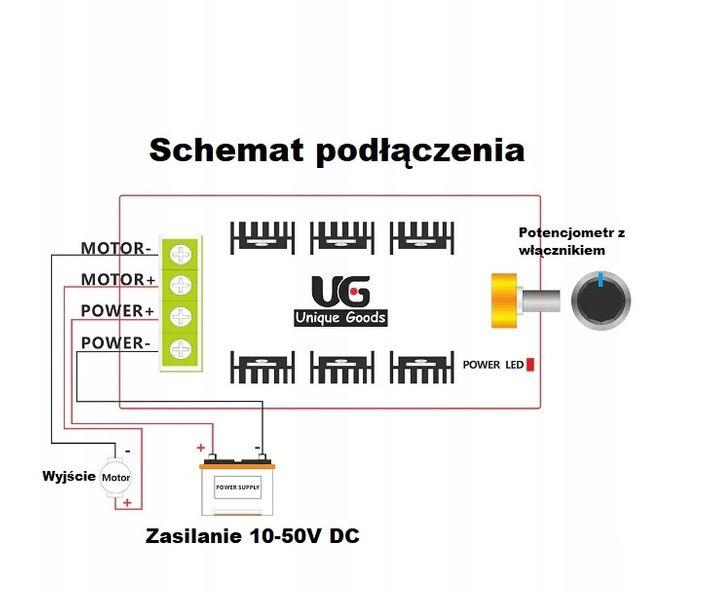 Regulator Mocy Silnika LED 12V 24V 50V 40A PWM DC na Arena.pl
