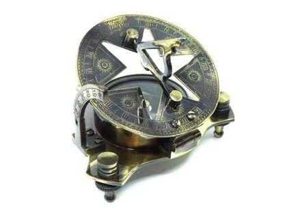 Mosiężny zegar słoneczny z kompasem , wykończenie antyk NC1572