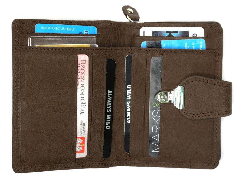 25ebc6e0ef3e3 Pojemny portfel damski Always Wild ze skóry nubukowej z zapięciem - jasny  brązowy zdjęcie 3