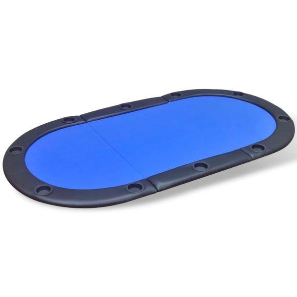 Składany blat do pokera dla 10 graczy, niebieski zdjęcie 2