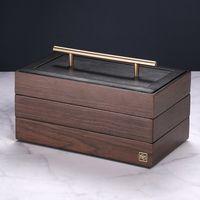 Pudełko Na Biżuterię - Drewniane - 3 Pozimy (Brązowy)