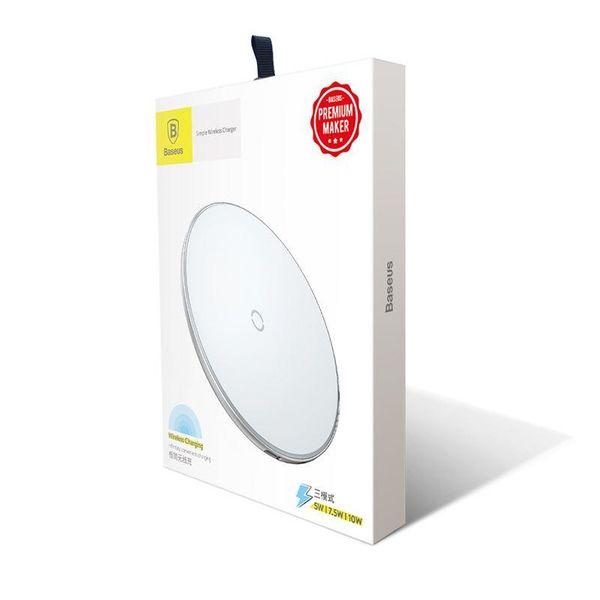Baseus Simple - Bezprzewodowa ładowarka indukcyjna Qi do iPhone i Android 10W (biały) zdjęcie 2