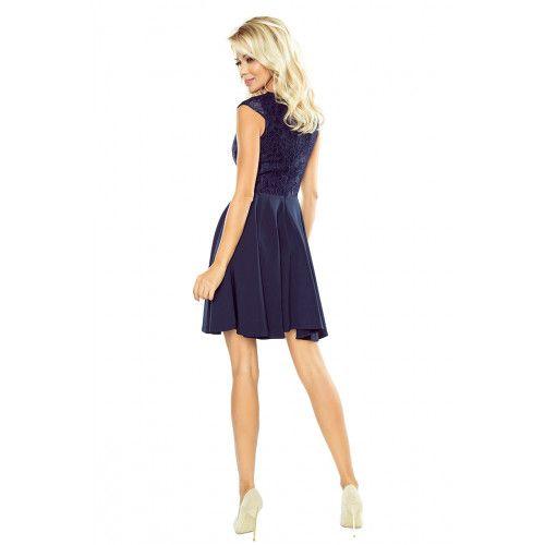 Sukienka MARTA z koronką - GRANATOWA XL zdjęcie 2