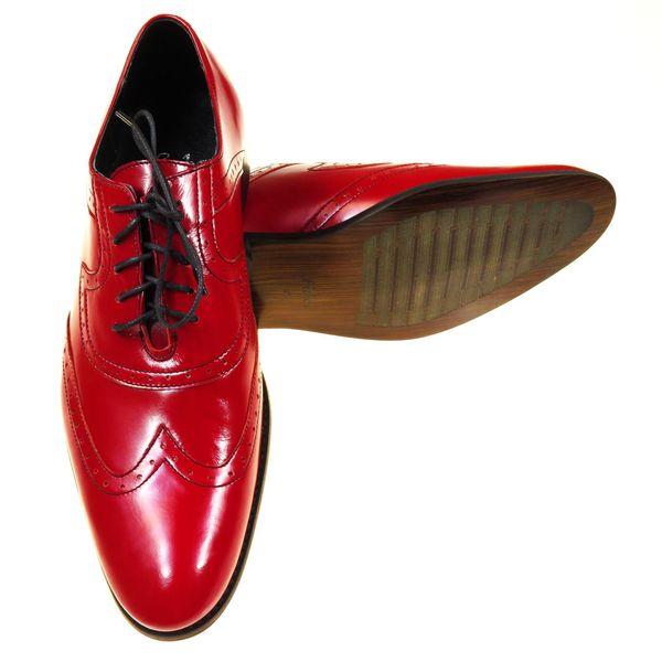 Czerwone męskie buty wizytowe - brogsy F4 T46 Rozmiar Obuwia - 43 zdjęcie 3