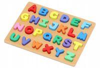 Drewniana Układanka Klocki Alfabet Puzzle Literki Y129