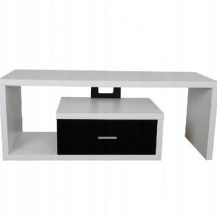 4World Style Stolik TV z szufladą, biało-czarny