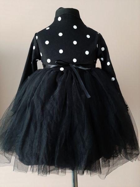 Puszysta CZARNA sukienka w Kropki z Tiulem 92/98 zdjęcie 5
