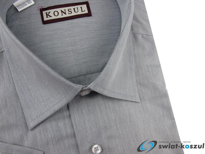 Koszula Męska SLIM FIT Konsul gładka jasna szara na krótki  pm2jz