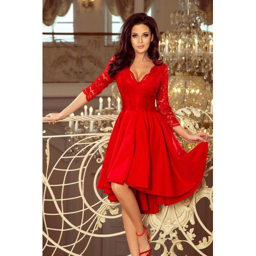 1c64d3afa9 NICOLLE - sukienka z dłuższym tyłem z koronkowym dekoltem - CZERWONA S  zdjęcie 1
