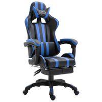 Fotel dla gracza z podnóżkiem, niebieski, sztuczna skóra