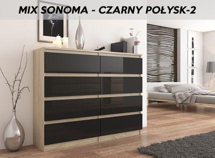 KOMODA 140CM SZAFKA 8 SZUFLAD Sonoma WYSOKI POŁYSK na Arena.pl