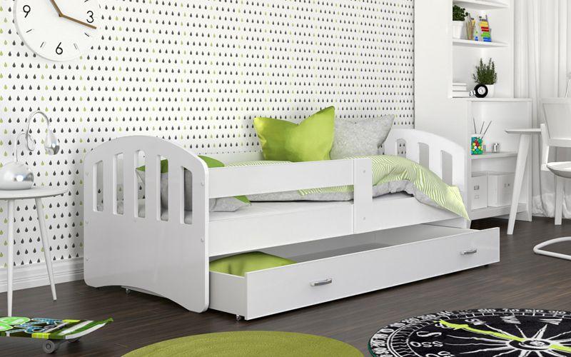 Łóżko HAPPY  200x90 BIEL szuflada + materac na Arena.pl