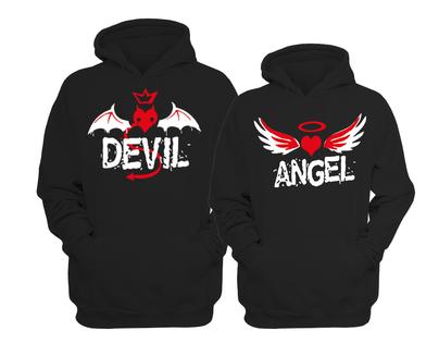 BLUZY DLA PAR z kapturem  ANGEL DEVIL 2szt