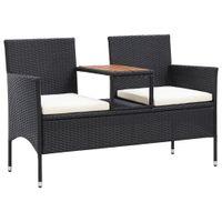 Dwuosobowa ławka ogrodowa ze stolikiem 143 cm rattan PE, czarna