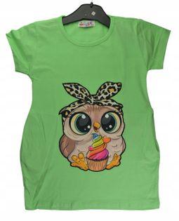 Tunika/sukienka Sowa zielna, bawełna roz.128