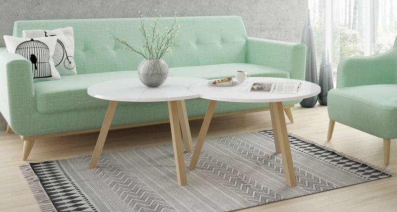 Skandynawski stolik kawowy KOPPLA, biały, ława zdjęcie 2