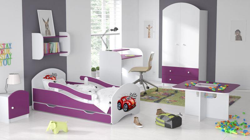 Łóżko dziecięce łóżeczko 140x70 biały / fiolet szuflada materac zdjęcie 5