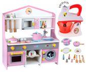 Drewniana Kuchnia Dla Dzieci z Pralką + Akcesoria + Mikser U55Z