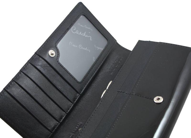 Lakierowany portfel damski Pierre Cardin, czarny zdjęcie 5