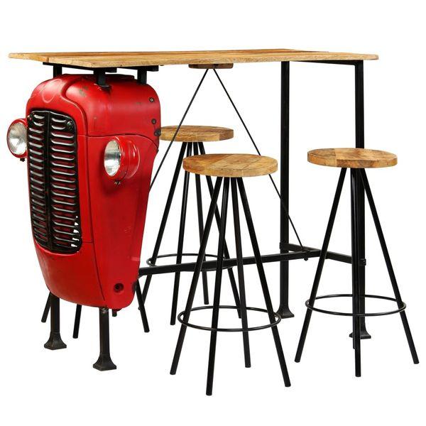 Hoker Hokery Krzesła Barowe Stolik Drewniane Zestaw Barowy 120x60x107cm