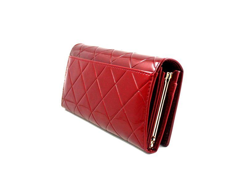 Duży czerwony portfel damski, lakierowany, pikowany, RFID, Peterson zdjęcie 3