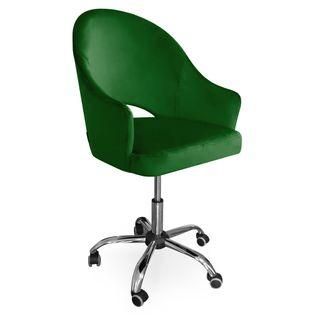 Fotel obrotowy GODA / zieleń butelkowa / noga chrom / MG25