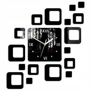 Zegar Ścienny KWADRATY 2 Czarny Geometryczny Styl