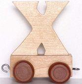 Wagonik z literką X - LITERKA element z układanki ALFABET POCIĄG