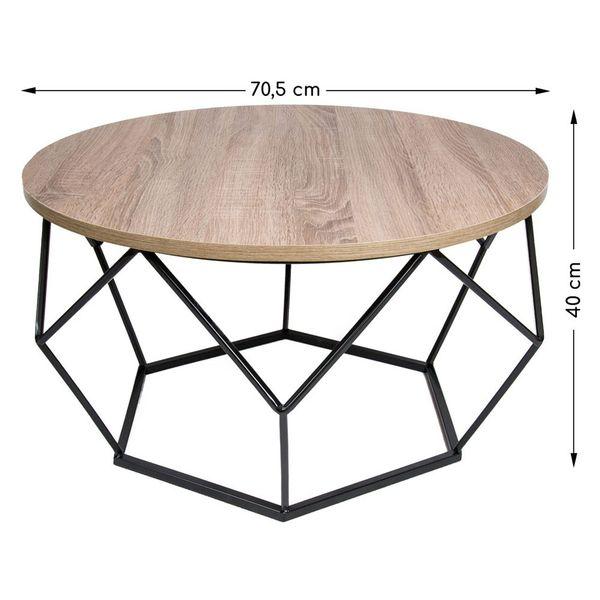 Stolik kawowy geometryczny Diament w kolorze czarny - ciemny dąb 70 cm zdjęcie 3