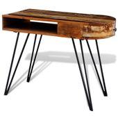 Biurko vintage, stolik z metalowymi nogami