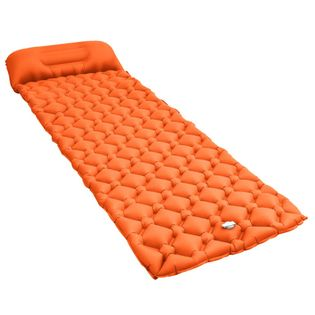 Dmuchany materac z poduszką, 58x190 cm, pomarańczowy