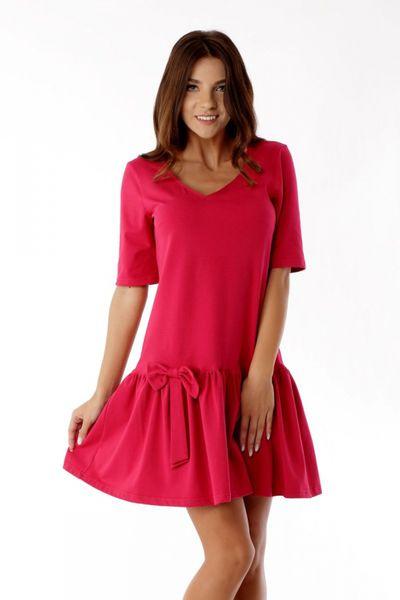 02db33fe8f Sukienka z falbaną i kokardą ED05 1 Malina Ella Dora Rozmiar - 40 zdjęcie 1