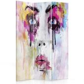Parawan pokojowy, trzyczęściowy, jednostronny, na płótnie Canvas, Twarz z plam farby 110x150