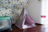 Namiot Tipi Softfun pink night mata + 3 poduszki bawełna MINKY zdjęcie 2