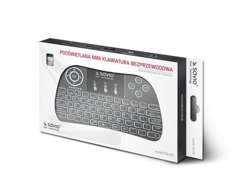 Klawiatura bezprzewodowa podświetlana SAVIO KW-02 Android TV Box, Smart TV, PS3, XBOX360, PC zdjęcie 1