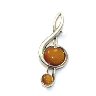 Broszka srebrna klucz wiolinowy z  bursztynem