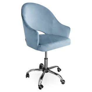 Fotel obrotowy GODA / srebrno-niebieski / noga chrom / BL06