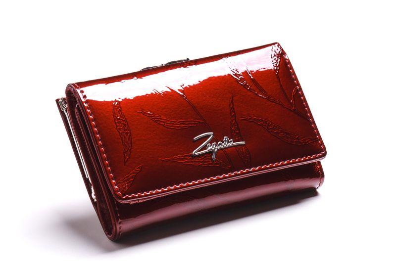 Mały portfel skórzany damski Zagatto czerwony liście RFID ZG-117 Leaf zdjęcie 1