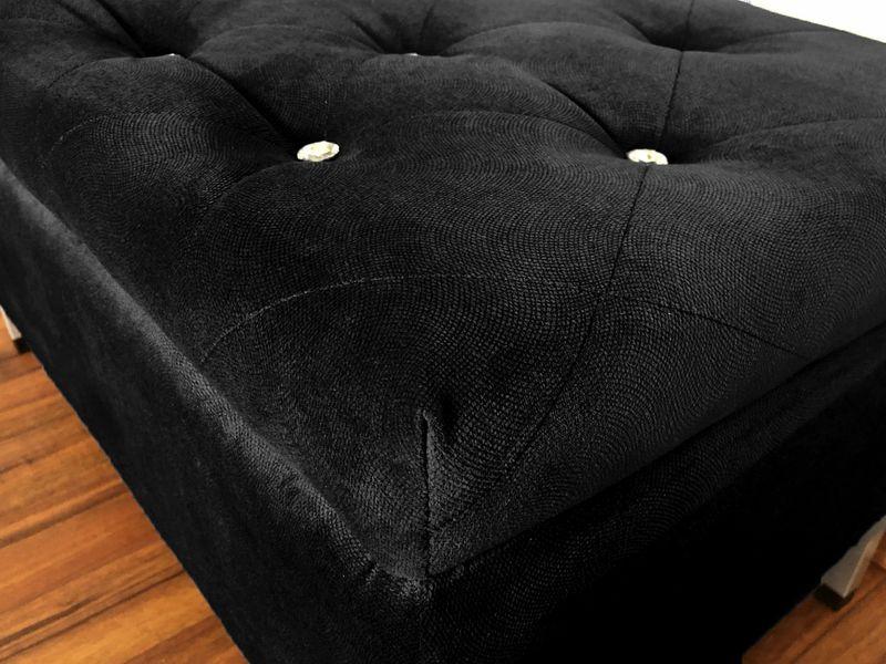Pufa kryształki pikowana tapicerowana Glamour czarna ze schowkiem na Arena.pl