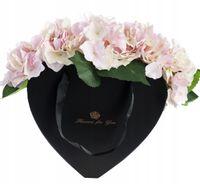 Flower box kwiaty w pudełku bukiet serce hortensja